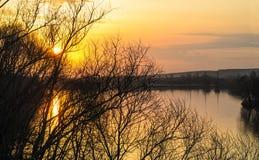 Tramonto sul fiume Sviyaga Fotografia Stock Libera da Diritti