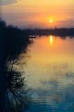 Tramonto sul fiume Sviyaga Immagini Stock Libere da Diritti