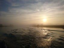 Tramonto sul fiume Trent Nottingham fotografia stock libera da diritti