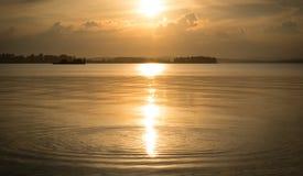 Tramonto sul lago Fotografia Stock