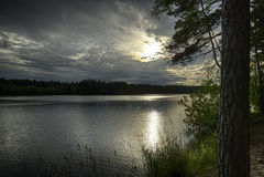 Tramonto sul lago Yläjärvi Fotografia Stock Libera da Diritti