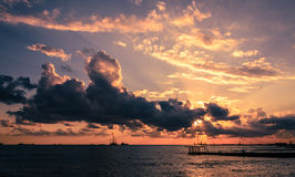 Tramonto sul mare Fotografie Stock