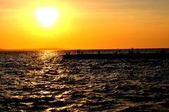 Tramonto sul mare adriatico Fotografie Stock