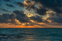 Tramonto sul mare caraibico immagine stock libera da diritti