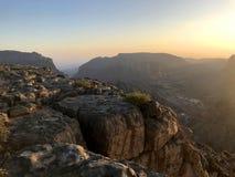 Tramonto sul punto del ` s di Diana in Al Jabal al Akhdar Oman Fotografia Stock
