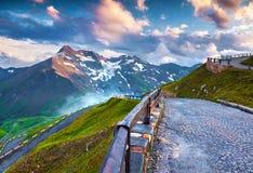 Tramonto sull'alta strada alpina famosa di Grossglockner Fotografie Stock Libere da Diritti