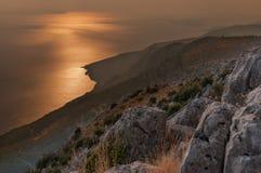 Tramonto sull'isola di Hvar Fotografie Stock