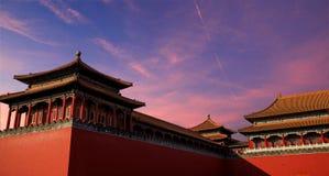 Tramonto sulla Città proibita a Pechino fotografia stock libera da diritti