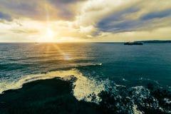 Tramonto sulla costa Fotografia Stock