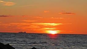 Tramonto sulla costa del Mar Baltico Fotografia Stock