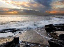 Tramonto sulla costa di eredità di Galles Fotografie Stock Libere da Diritti