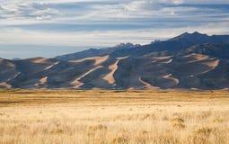 Tramonto sulla grande sosta nazionale delle dune di sabbia Immagini Stock Libere da Diritti