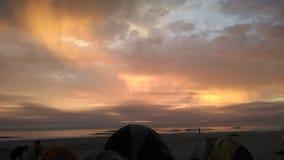 Tramonto sulla spiaggia Fotografie Stock Libere da Diritti
