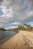Tramonto sulla spiaggia Fotografia Stock Libera da Diritti