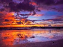 Tramonto sulla spiaggia del Ao Nang Fotografia Stock