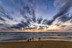 Tramonto sulla spiaggia in Negombo, Sri Lanka Fotografia Stock Libera da Diritti