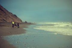 Tramonto sulla spiaggia in San Francisc Fotografia Stock