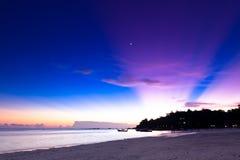Tramonto sulla spiaggia, Tailandia Fotografia Stock Libera da Diritti