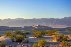 Tramonto sulle dune di sabbia piane del Mesquite fotografia stock