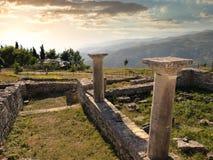 Tramonto sulle rovine di Byllis antico, Albania Fotografie Stock
