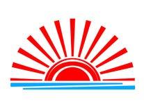 Tramonto Sun rosso sopra il mare Vettore astrazione dell'isolato illustrazione di stock
