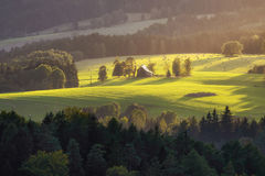 Tramonto in Svizzera della Boemia, repubblica Ceca Fotografie Stock