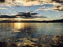 Tramonto svizzero del lago Fotografia Stock Libera da Diritti