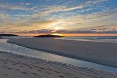 Tramonto a Tangasdale (isola di Barra) Fotografia Stock