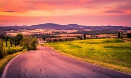 Tramonto in Toscana Immagini Stock