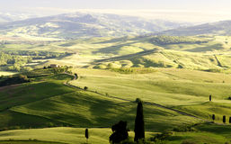 Tramonto in Toscana, Italia Immagini Stock