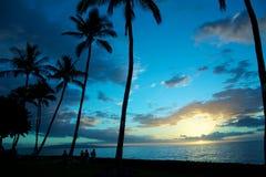 Tramonto tropicale blu Fotografia Stock Libera da Diritti