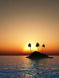 Tramonto tropicale dell'isola Fotografie Stock Libere da Diritti