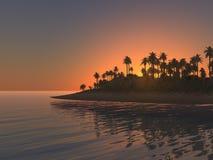 Tramonto tropicale dell'isola Fotografie Stock