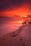 Tramonto tropicale della spiaggia Fotografie Stock