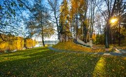 Tramonto in un vecchio parco di autunno con un lago immagine stock libera da diritti