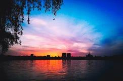 tramonto urbano immagine stock libera da diritti