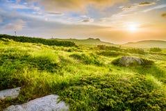 Tramonto vicino al picco nero /Cherni vrah/sulla montagna di Vitosha, Bulgaria Fotografia Stock Libera da Diritti