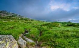 Tramonto vicino al picco nero /Cherni vrah/sulla montagna di Vitosha, Bulgaria Fotografia Stock