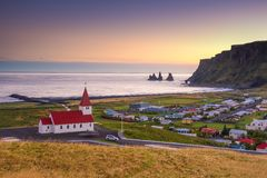Tramonto in Vik Iceland Immagine Stock
