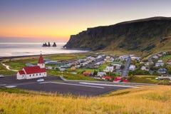 Tramonto in Vik Iceland Immagini Stock Libere da Diritti