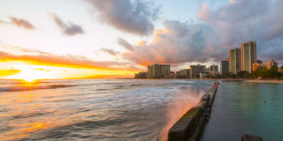 Tramonto a Waikiki Fotografie Stock