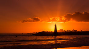 Tramonto a Walton Lighthouse Immagini Stock Libere da Diritti