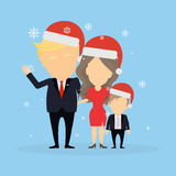 Tramp family in santa hats. Russia December 12, 2016 Donald Trump with wife Melania and their son. New american president and First lady of the United States in Royalty Free Stock Photography