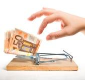 Trampa del dinero - cebo euro imagen de archivo libre de regalías