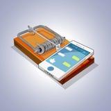 Trampa del ratón con el teléfono móvil apego social de los medios y de Internet ilustración del vector