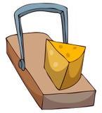 Trampa del ratón con queso Imágenes de archivo libres de regalías