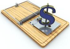 Trampa del ratón y muestra de dólar en el fondo blanco Fotos de archivo libres de regalías