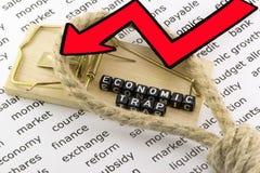 Trampa económica de la deuda en el lazo Fotografía de archivo libre de regalías