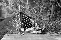 Trampad amerikanska flaggan royaltyfri fotografi