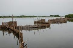 Trampas de lámina tradicionales de la pesca usadas en humedales cerca de la costa en Benin fotos de archivo